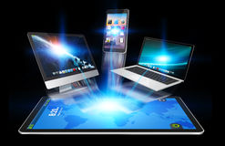 Devices and icons applications connecting to each other. Colorful devices and icons applications interacting with each other Royalty Free Stock Photo