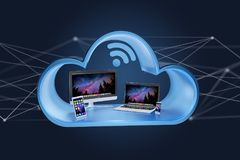 Devices like smartphone, tablet or computer displayed in a cloud Royalty Free Stock Image