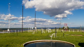 Devices for measuring wind speed, rainfall at weather station at summer day. Timelapse stock video footage