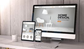 Devices responsive on workspace cool website design. Digital generated devices on desktop, responsive interior design website design on screen. All screen Stock Photo