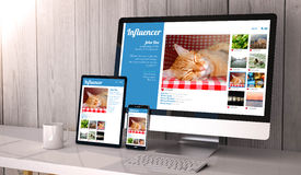 Devices responsive on workspace influencer marketing online Stock Image