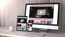 Devices responsive on workspace streaming online Royalty Free Stock Photo