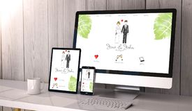 Devices responsive on workspace wedding website design. Digital generated devices on desktop, responsive wedding website design on screen. All screen graphics royalty free illustration