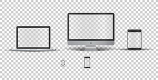 Devices without screen. Single monitor, laptop, touch tablet, phone and electronic watch  without screen on transparent background. Template framework. Insert Royalty Free Stock Images
