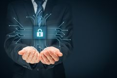 IT devices security. Information technology devices security concept. Businessman offer IT security service - button with padlock icon in simplified design of royalty free stock images