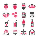 Strawberry icon set. Vector and illustration royalty free illustration