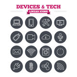 Devices and technologies linear icons set. Thin Royalty Free Stock Photos