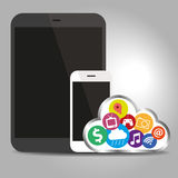 Devices technology with cloud concept Stock Image