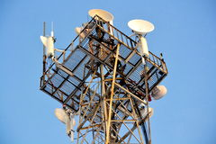 Devices of a telephone tower. The telephone tower lasts highly the sky Stock Photo