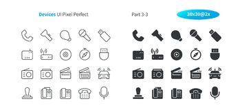 Devices UI Pixel Perfect Well-crafted Vector Thin Line And Solid Icons 30 2x Grid for Web Graphics and Apps. Simple Minimal Pictogram Part 3-3 Stock Photo