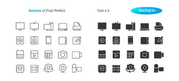 Devices UI Pixel Perfect Well-crafted Vector Thin Line And Solid Icons 30 2x Grid for Web Graphics and Apps. Simple Minimal Pictogram Part 1-3 Royalty Free Stock Photography