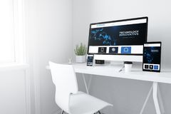 Devices on white minimal workspace innovative website. 3d rendering of devices on desktop. innovative website home on screens stock images