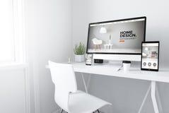 devices on white minimal workspace interior design website Stock Photos