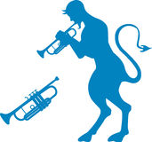 Devil. A blue devil playing a trumpet Stock Image