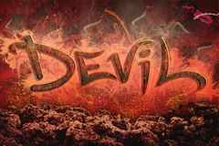 Devil. 3d text over a abstract background vector illustration