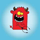 Devil. Red sweet devil with horn and fork in hand vector illustration
