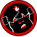 Devil. Trying to get out a circle made in red and black Royalty Free Stock Photo