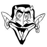 Devil. Face in black and white vector illustration