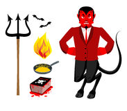 Devil and accessories. Satanic set. Trident and hellfire. Black. Bats. Frying pan for sinners. Necronomicon magic Book of Dead. Red Demon. Prince of darkness Stock Images