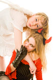 Devil and angel stock images