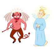 Devil and angel. Cartoon characters of a laughing devil and serious angel Royalty Free Stock Photos