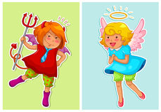 Devil and angel. Set of cute cartoon devil and angel Stock Photography