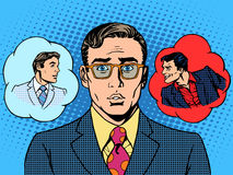 Devil angel businessman choice between good royalty free illustration