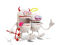 Devil and angel cartoon character having fun together Royalty Free Stock Images