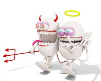Devil and angel cartoon character having fun together. 3d rendering Royalty Free Stock Photos