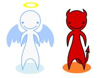 A devil and an angel. Cartoon figures of a devil and an angel Royalty Free Stock Photo