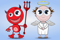 Devil and Angel. Funny smiling devil and angel Royalty Free Stock Photography