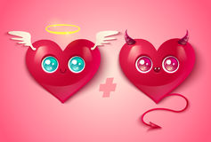 Devil and angel hearts Stock Photo