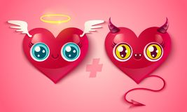 Devil and angel hearts. Vector devil and angel hearts on pink background. Two cute hearts for Valentines day in kawaii style Royalty Free Stock Photography
