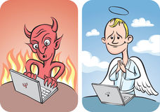 Devil and Angel with Laptop Computer Stock Photo
