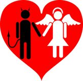 Devil and Angel. It is love. A vector illustration. It is isolated on a white background Royalty Free Stock Photos