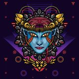 Devil Angel`s Face Sacred Geometry. is An illustration with an devil angel`s base that has a beautiful blend of colours and. Devil Angels Face Sacred Geometry vector illustration
