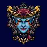 Devil Angels Face Sacred Geometry. is An illustration with an devil angels base that has a beautiful blend of colours. Design element for shirt and print on stock illustration