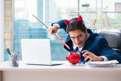 The devil angry businessman in the office Royalty Free Stock Images