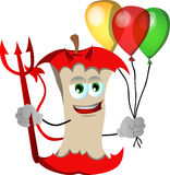 Devil apple core with balloons Royalty Free Stock Images