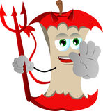 Devil apple core holding a stop sign Royalty Free Stock Photography