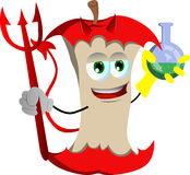 Devil apple core holds beaker of chemicals Royalty Free Stock Photos