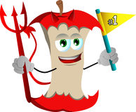 Devil apple core sports fan with flag Royalty Free Stock Image
