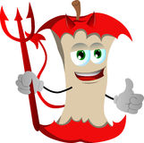 Devil apple core with thumb up Stock Photography