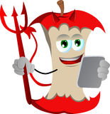 Devil apple core using a tablet Stock Images