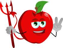 Devil apple gesturing the peace sign Royalty Free Stock Photos