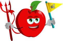 Devil apple sports fan with flag Stock Photography