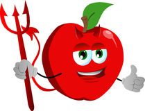 Devil apple with thumb up Royalty Free Stock Image