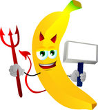 Devil banana with blank board Stock Image