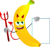 Devil banana with blank board Royalty Free Stock Photo