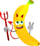 Devil banana gesturing the peace sign Royalty Free Stock Photos